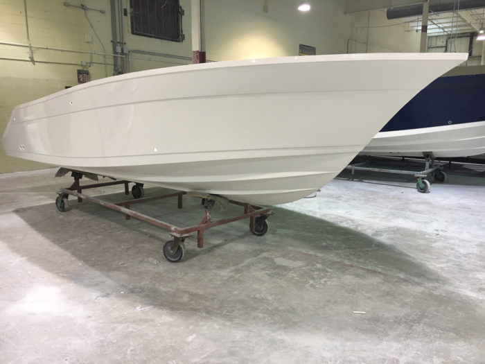 Here's the first shot of the Century Boats Striper Cup 2200 hull!